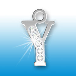 Letter Y Initial Charm With Crystals Image