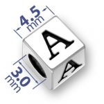 45mm Square Alphabet Letter A Bead Image