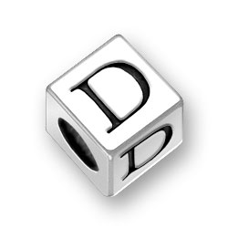 45mm Square Alphabet Letter D Bead Image