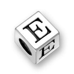 45mm Square Alphabet Letter E Bead Image