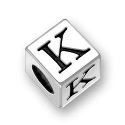 45mm Square Alphabet Letter K Bead Image