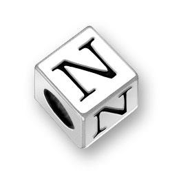 45mm Square Alphabet Letter N Bead Image