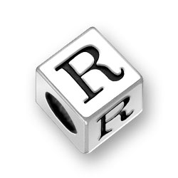 45mm Square Alphabet Letter R Bead Image