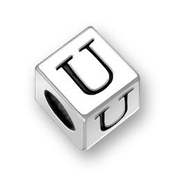 45mm Square Alphabet Letter U Bead Image