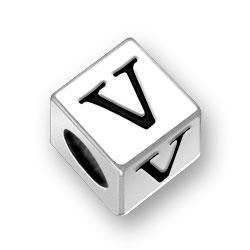 45mm Square Alphabet Letter V Bead Image