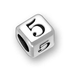 6mm Rounded Number 5 Five Bead Image