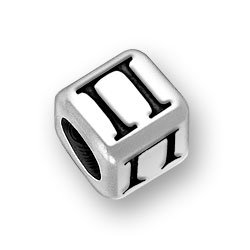 6mm Rounded Greek Pi Alphabet Bead Image