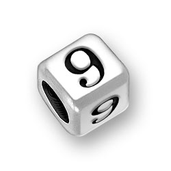 6mm Rounded Number 9 Nine Bead Image