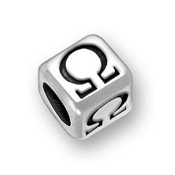 6mm Rounded Greek Omega Alphabet Bead Image
