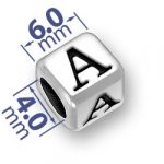6mm Rounded Alphabet Letter A Bead Image