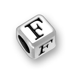 6mm Rounded Alphabet Letter F Bead Image