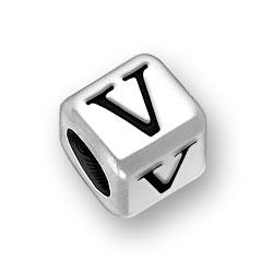 6mm Rounded Alphabet Letter V Bead Image