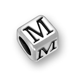 45mm Rounded Alphabet Letter M Bead Image