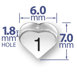 Number 1 One Heart Bead Image