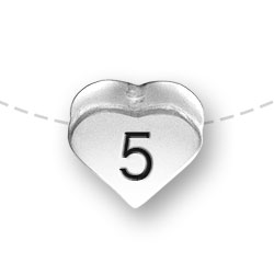 Number 5 Five Heart Bead Image