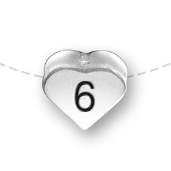 Number 6 Six Heart Bead Image