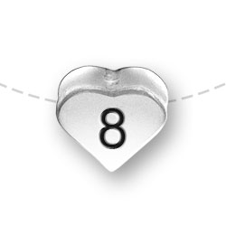 Number 8 Eight Heart Bead Image