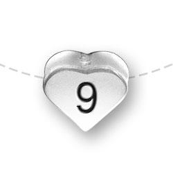 Number 9 Nine Heart Bead Image