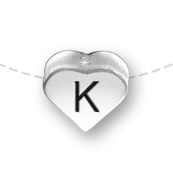 Letter K Heart Alphabet Bead Image
