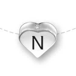 Letter N Heart Alphabet Bead Image