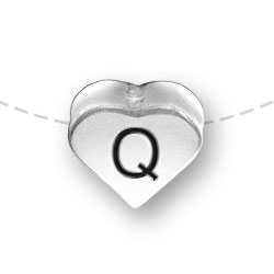 Letter Q Heart Alphabet Bead Image