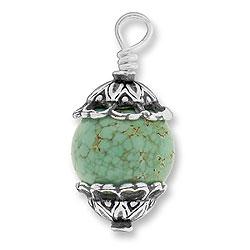 Turquoise Bead With Filigree Cap Image