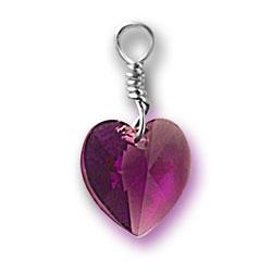 Amethyst Swarovski Crystal Heart Charm Image