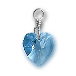 Aquamarine Swarovski Crystal Heart Charm Image