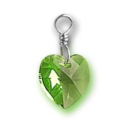 Peridot Swarovski Crystal Heart Charm Image