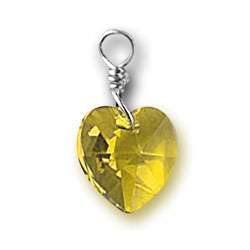 Topaz Swarovski Crystal Heart Charm Image