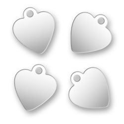 Blank Silver Heart Tags 92mm X 105mm Image