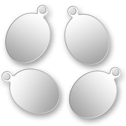 Blank Silver Oval Tags 88mm X 13mm Image