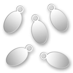 Blank Silver Oval Tags 55mm X 11mm Image
