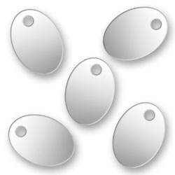 Blank Silver Oval Tags 72mm X 101mm Image