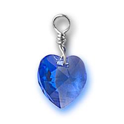 Sapphire Swarovski Crystal Heart Charm Image