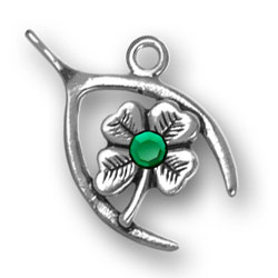 Wishbone Clover With Green Crystal Image
