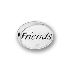Pewter Friends Message Bead Image