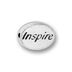 Pewter Inspire Message Bead Image