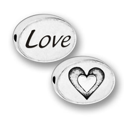 Pewter Love Heart Message Bead Image