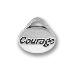 Pewter Courage Oval Charm Image