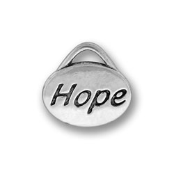 Pewter Hope Oval Charm Image