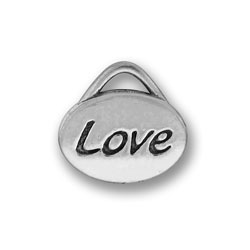 Pewter Love Oval Charm Image