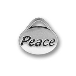 Pewter Peace Oval Charm Image