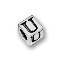 Pewter 55mm Alphabet Letter U Bead Image