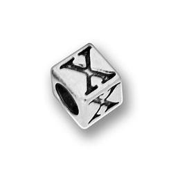 Pewter 55mm Alphabet Letter X Bead Image
