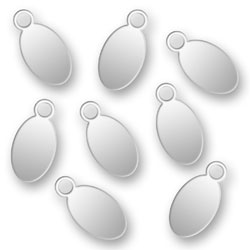 Engraved Silver Oval Tags 45mm X 9mm Image