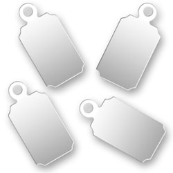 Engraved Silver Rectangular Tags 67mm X 137mm Image