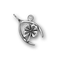 Small Wishbone And Clover Charm Image