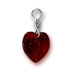 Garnet Swarovski Crystal Heart Charm Image