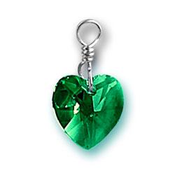 Emerald Swarovski Crystal Heart Charm Image